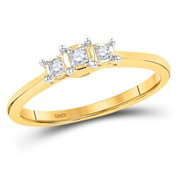 1/12 CTW Round Diamond 3-stone Bridal Wedding Engagement Ring 10kt Yellow Gold - REF-15N5Y