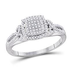 1/3 CTW Round Diamond Square Cluster Bridal Wedding Engagement Ring 10kt White Gold - REF-21R5H