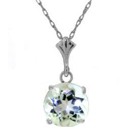Genuine 1.15 ctw Aquamarine Necklace 14KT White Gold - REF-22N8R