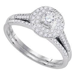 1/2 CTW Round Diamond Halo Bridal Wedding Engagement Ring 14kt White Gold - REF-47T9K