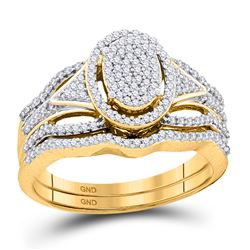 3/8 CTW Round Diamond Oval Cluster Bridal Wedding Engagement Ring 10kt Yellow Gold - REF-35F9M