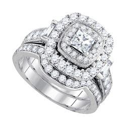 2 CTW Princess Diamond Halo Bridal Wedding Engagement Ring 14kt White Gold - REF-228N3Y