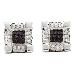 1/3 CTW Mens Round Black Color Enhanced Diamond 3D Cube Square Earrings 10kt White Gold - REF-21Y5X