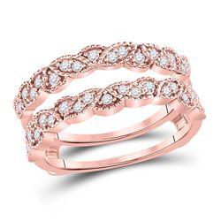 1/3 CTW Round Diamond Milgrain Ring 14kt Rose Gold - REF-45H6W