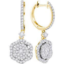 1 CTW Round Diamond Hexagon Frame Cluster Dangle Earrings 14kt Yellow Gold - REF-77K9R