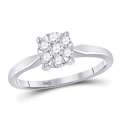 1/3 CTW Round Diamond Flower Cluster Ring 10kt White Gold - REF-27A3N