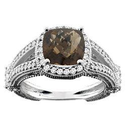 4.10 CTW Quartz & Diamond Ring 14K White Gold - REF-55N3Y