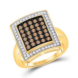 1 CTW Round Brown Diamond Rectangle Cluster Ring 10kt Yellow Gold - REF-41Y9X