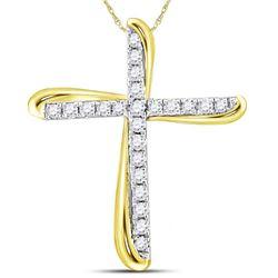 1/8 CTW Round Diamond Cross Pendant 14kt Two-tone Gold - REF-9N3Y
