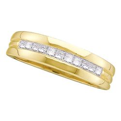 1/2 CTW Mens Princess Diamond Single Row Ring 14kt Yellow Gold - REF-54K3R