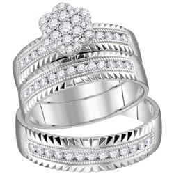 3/4 CTW His & Hers Round Diamond Cluster Matching Bridal Wedding Ring 14kt White Gold - REF-113Y9X
