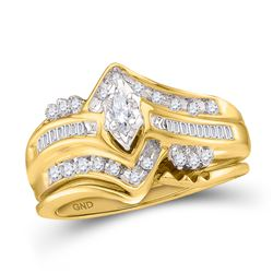 1/3 CTW Marquise Diamond Bridal Wedding Engagement Ring 14kt Yellow Gold - REF-45M6A