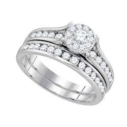 1 CTW Round Diamond Bridal Wedding Engagement Ring 14kt White Gold - REF-101W9F