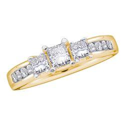 7/8 CTW Princess Diamond 3-stone Bridal Wedding Engagement Ring 14kt Yellow Gold - REF-95X9T