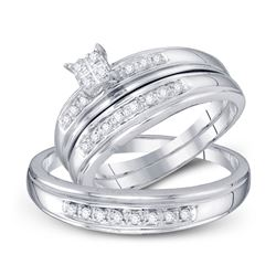 1/5 CTW His & Hers Round Diamond Cluster Matching Bridal Wedding Ring 10kt White Gold - REF-24K3R