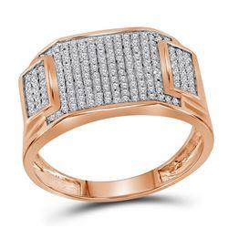 1/2 CTW Mens Round Diamond Rectangle Cluster Ring 10kt Rose Gold - REF-27K3R