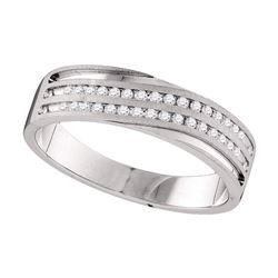1/4 CTW Mens Round Diamond Wedding Ring 10kt White Gold - REF-39W3F