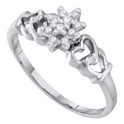 1/10 CTW Round Diamond Cluster Ring 10kt White Gold - REF-9A6N
