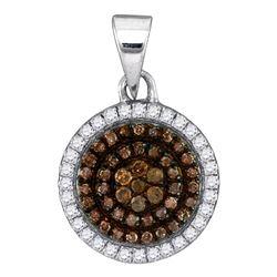 1/3 CTW Round Brown Diamond Circle Frame Cluster Pendant 10kt White Gold - REF-15H5W