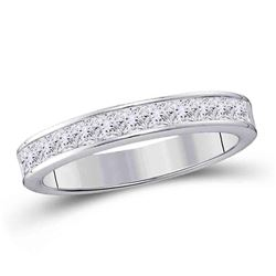 1/4 CTW Princess Diamond Wedding Ring 14kt White Gold - REF-30K3R