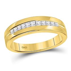 1/2 CTW Mens Princess Diamond Wedding Ring 14kt Yellow Gold - REF-54X3T