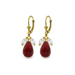 Genuine 18.6 ctw White Topaz & Ruby Earrings 14KT Yellow Gold - REF-46V7W