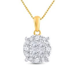 1/2 CTW Princess Diamond Fashion Cluster Pendant 14kt Yellow Gold - REF-41H9W