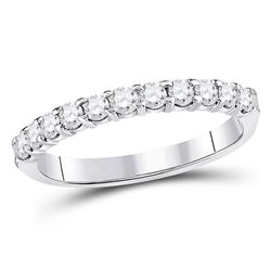 1/2 CTW Round Diamond Single Row Machine-set Wedding Ring 14kt White Gold - REF-39T3K