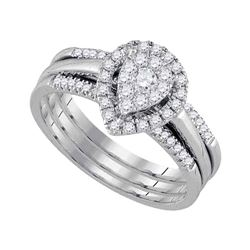 1/2 CTW Round Diamond 3-Piece Bridal Wedding Engagement Ring 10kt White Gold - REF-51W3F