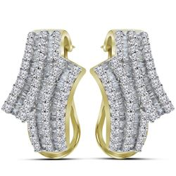 1 CTW Round Baguette Diamond Bypass Hoop Earrings 14kt Yellow Gold - REF-75M5A