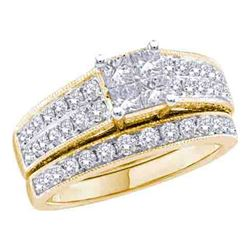 3/4 CTW Princess Diamond Bridal Wedding Engagement Ring 14kt Yellow Gold - REF-90M3A