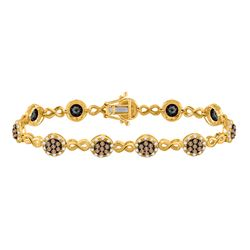 2 & 1/5 CTW Round Brown Diamond Infinity Bracelet 10kt Yellow Gold - REF-137M9A