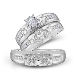 1/8 CTW His & Hers Round Diamond Claddagh Matching Bridal Wedding Ring 10kt White Gold - REF-39W5F