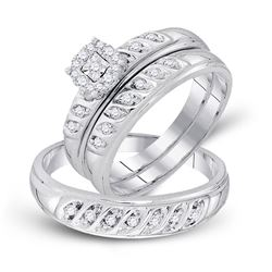 1/3 CTW His & Hers Round Diamond Cluster Matching Bridal Wedding Ring 10kt White Gold - REF-38K4R