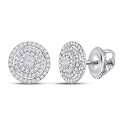 1/2 CTW Princess Diamond Fashion Cluster Earrings 14kt White Gold - REF-47M9A