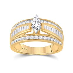 1 CTW Marquise Diamond Solitaire Bridal Wedding Engagement Ring 14kt Yellow Gold - REF-107M9A