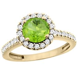 1.13 CTW Peridot & Diamond Ring 10K Yellow Gold - REF-54W3F