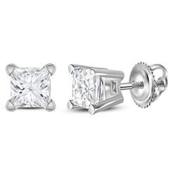 1/2 CTW Unisex Princess Diamond Solitaire Stud Earrings 14kt White Gold - REF-43W5F