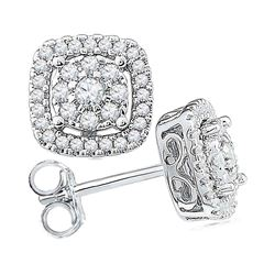 1/2 CTW Round Diamond Framed Square Cluster Screwback Earrings 10kt White Gold - REF-32K3R