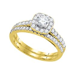 1 CTW Round Diamond Halo Bridal Wedding Engagement Ring 14kt Yellow Gold - REF-105K5R