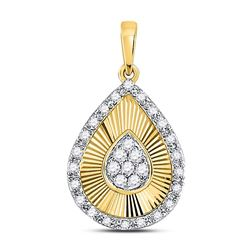 1/6 CTW Round Diamond Teardrop Pendant 10kt Yellow Gold - REF-15X5T