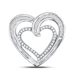 1/3 CTW Round Diamond Heart Pendant 10kt White Gold - REF-19T2K