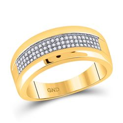 1/4 CTW Mens Round Pave-set Diamond Wedding Ring 10kt Yellow Gold - REF-30T3K