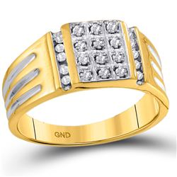 1/4 CTW Mens Round Diamond Square Cluster Ring 10kt Yellow Gold - REF-21H5W