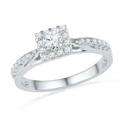 3/8 CTW Round Diamond Ring 10kt White Gold - REF-35A9N