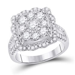 2 CTW Round Diamond Square Flower Cluster Ring 14kt White Gold - REF-165X5T