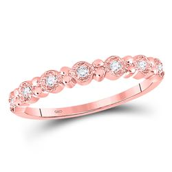 1/10 CTW Round Diamond Stackable Ring 10kt Rose Gold - REF-10M8A