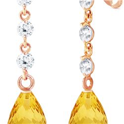 Genuine 3.3 ctw Citrine & Diamond Earrings 14KT Rose Gold - REF-42V9W
