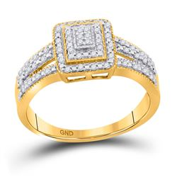 1/6 CTW Round Diamond Square Cluster Bridal Wedding Engagement Ring 10kt Yellow Gold - REF-18K3R