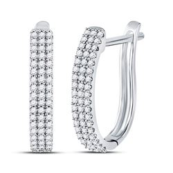 1/4 CTW Round Diamond Triple Row Hoop Earrings 10kt White Gold - REF-16M8A